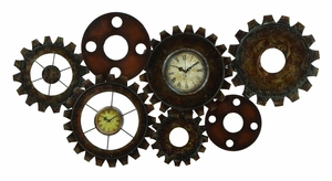 Roman Metal Gear Clock with Sturdy Design in Brown Finish Brand Woodland