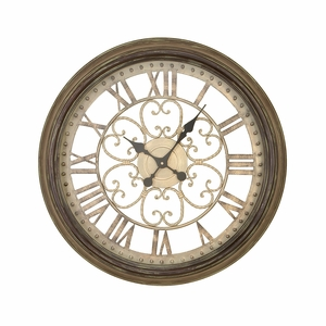 "Roman Numerals Vintage Look Metal Round Wall Clock 24"" Brand Woodland"
