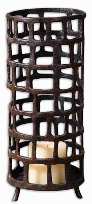 Romantic Arig Distressed Candle Holder With Black Undertones Brand Uttermost