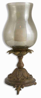 Romantic Chandell Distressed Candle Holder With Rust Black Glaze Brand Uttermost