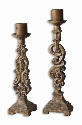 Romantic Gia Antique Candle Holder With Distressed Mocha Finish Brand Uttermost