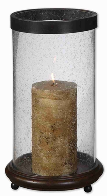 Romantic Layla Antique Candle Holder With Hickory Finish Wood Base Brand Uttermost