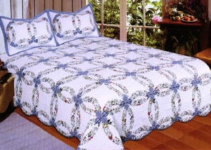 Romantic Ring Pattern with 100% Cotton Filled Quilt for Queen Size Bed by American Hometex