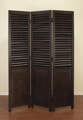Room Divider Wooden Screen with 3 Panel Shutter in Brown Brand Woodland