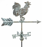 Rooster Garden Weathervane - Blue Verde Copper w/Roof Mount by Good Directions