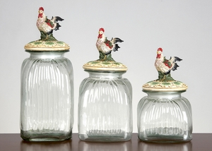Rooster Top Clear Glass with Lid Canister Jar - Set of 3 Brand Woodland