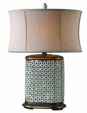 Rosignano Crackled Blue Table Lamp with Detailing Brand Uttermost