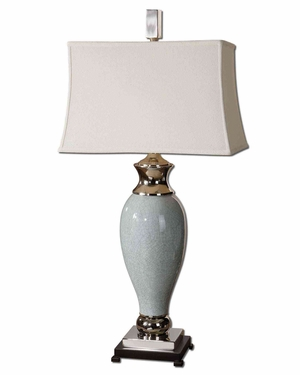 Rossa Light Blue Table Lamp with Details and Black Foot Brand Uttermost
