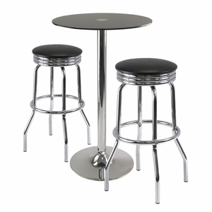 Rossi Round Black Metallic 3pc Pu Table with Swivel Stools by Winsome Woods
