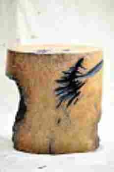 Round and Crafty Solid Wheel Solid Stool in Natural Texture Brand Woodland