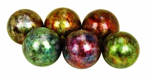 Round Ceramic Decorative Balls in Multicolor - Set of 6 Brand Woodland