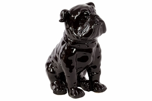 Round in shape Ceramic Dog Black by Urban Trends Collection