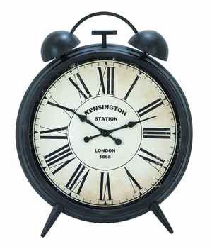 Round Metal Clock with Antique Finish Table Clocks Brand Woodland