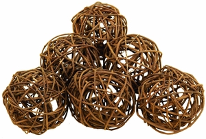 Round Natural Decorative Woven Bamboo Wood Balls - Set of 6 Brand Woodland