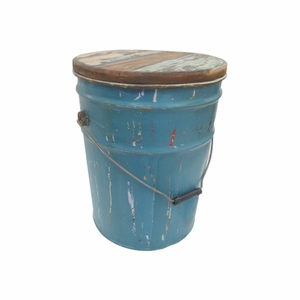 """Round Shaped 15"""" Multipurpose Use Bucket with Wooden Lid Brand Woodland"""