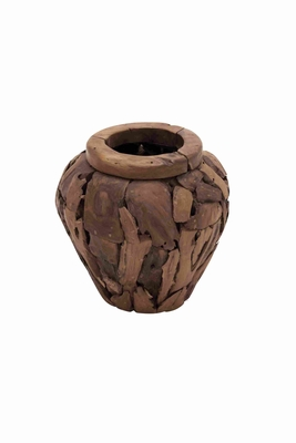 Round Shaped Good Quality Teak Wood Vase in Medium Size Brand Woodland