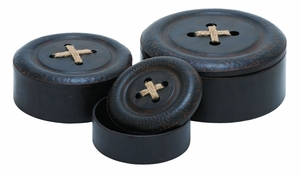 Round Shaped Metal Box with Aesthetic Design - Set of 3 Brand Woodland