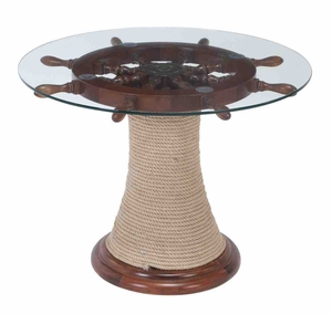 Round Shaped Table with Wood Glass Ship Wheel in Brown Finish Brand Woodland