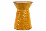 Round Shaped Vibrant Yellow Polished Metal Stool
