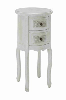 Round Shaped Wooden Night Stand in Antique White with 2 Drawers Brand Woodland