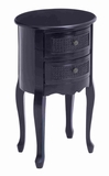 Round Shaped Wooden Night Stand in Black with 2 Drawers Brand Woodland