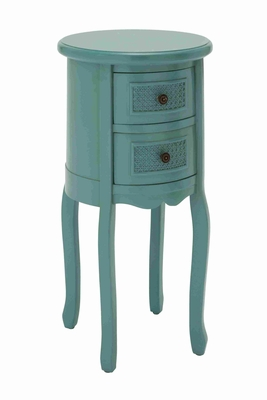 Round Shaped Wooden Night Stand in Turquoise with 2 Drawers Brand Woodland