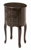 Round Shaped Wooden Night Stand in Walnut Finish with 2 Drawers Brand Woodland