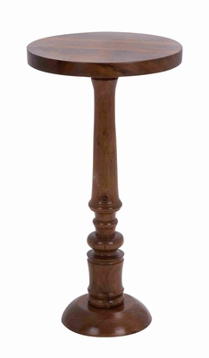 "Round Shaped Wooden Pedestal Table with Sturdy Construction 30"" H Brand Woodland"