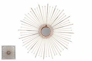 Round Stroked Metal Fancy Wall Mirror Leaf