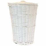 Round Willow Hamper with Matching Lid - White in White by Redmon