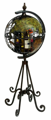 Round World Globe Metal Floor Wine Rack Wine Bottle Holder Brand Woodland