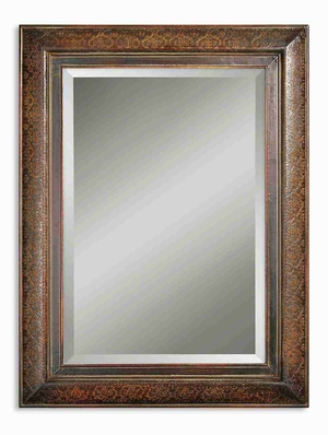 Rowena Wall Mirror with Mahogany and Embossed Copper Panels Brand Uttermost