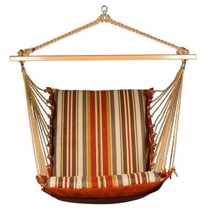 Roxen Stripe Nutmeg or Burnt Orange Soft Comfort Cushion Hanging Chair by Alogma