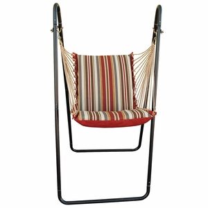 Roxen Stripe Nutmeg or Burnt Orange Swing Chair and Stand Combination by Alogma
