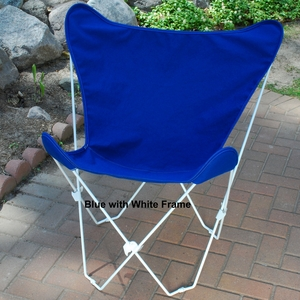 Royal Blue Fabric Comfortable Foldable Butterfly Chair by Alogma