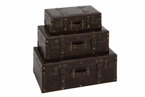 Royal Rome Traditional Storage Trunk Set Brand Benzara