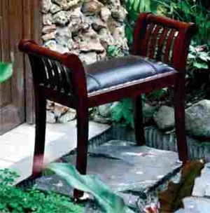 Verde Royal Bench In Mahogany Wood Construction And Black Leather - 37756 by Benzara