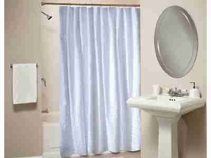 Ruffled White Shower Curtain, Cotton Polyester Shower Curtain Brand Greenland Home fashions