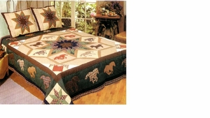Running Horses Quilt Handmade Cotton Quilt Queen Size Bedding by American Hometex