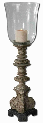 Rust Gray Candle Holder With Clear Seeded Glass Globe Brand Uttermost