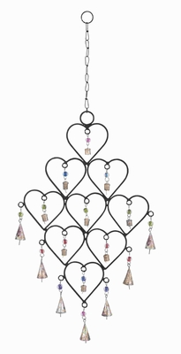 Rust Resistant Metal Heart Wind Chime with artistic design Brand Woodland