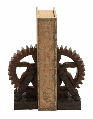 Rusted Gear Themed Book End Set In a Polyresin Cast Brand Woodland