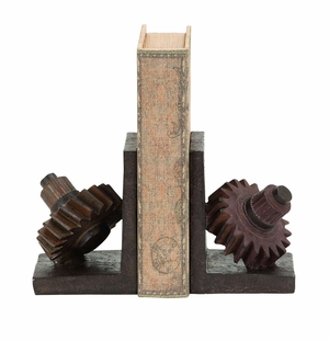 Rusted Gear Themed Book End Set With Polystone Brand Woodland