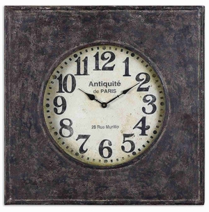 Rustic And Aged Wall Clock With Distressed Hand Forged Body Brand Uttermost
