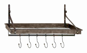 Rustic and Classic Metal Wire Wall Shelf Hook Brand Benzara