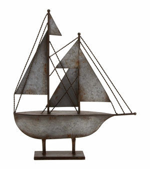 Rustic Antique Styled Fascinating Metal Sailboat by Woodland Import