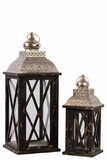 Rustic & Charming Wooden Lantern Set of Two w/ Metallic Roof in Black