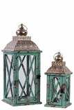 Rustic & Charming Wooden Lantern Set of Two w/ Metallic Roof in Blue