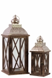 Rustic & Charming Wooden Lantern Set of Two w/ Metallic Roof in Brown