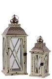 Rustic & Charming Wooden Lantern Set of Two w/ Metallic Roof in White